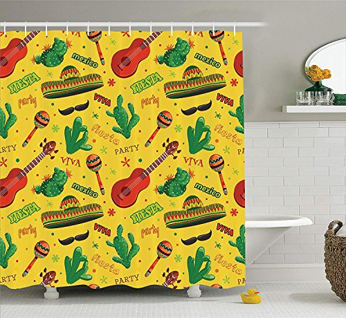 Mexican Decorations Collection, Fiesta Party Dancing Patriot Spanish Travel Destinations Exotic Vacation Image, Polyester Fabric Bathroom Shower Curtain Set with Hooks, Green Mustard,66x72 inches (Hoteles De En Fiesta Halloween)