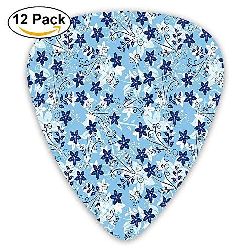 Flowers Floral Pattern With Swirls Ivy Leaf Guitar Picks 12/Pack (Halloween Swirl Nails)