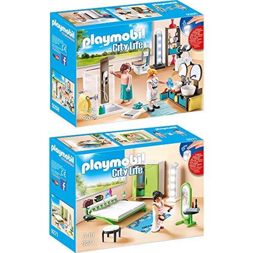 PLAYMOBIL® Modernes Wohnhaus Möbelset: 9268 Badezimmer + 9271 Schlafzimmer
