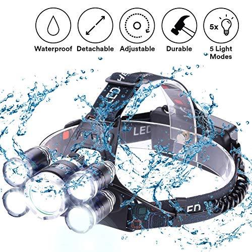 LED Stirnlampe Kopflampe, 8000 Lumen Ultra Bright LED-Arbeitsscheinwerfer USB wiederaufladbar, 4 Modi Wasserdichte Stirnlampe Beste Scheinwerfer für Camping Wandern im Freien