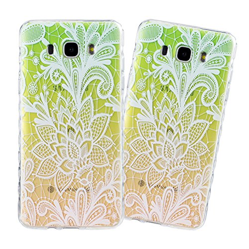 Samsung J710 Hülle, E-Lush TPU Soft Silikon Tasche Transparent Schale Clear Klar Hanytasche für Samsung Galaxy J710(2016) (5,5 zoll) Durchsichtig Rückschale Ultra Slim Thin Dünne Schutzhülle Weiche Fl Lace Flower