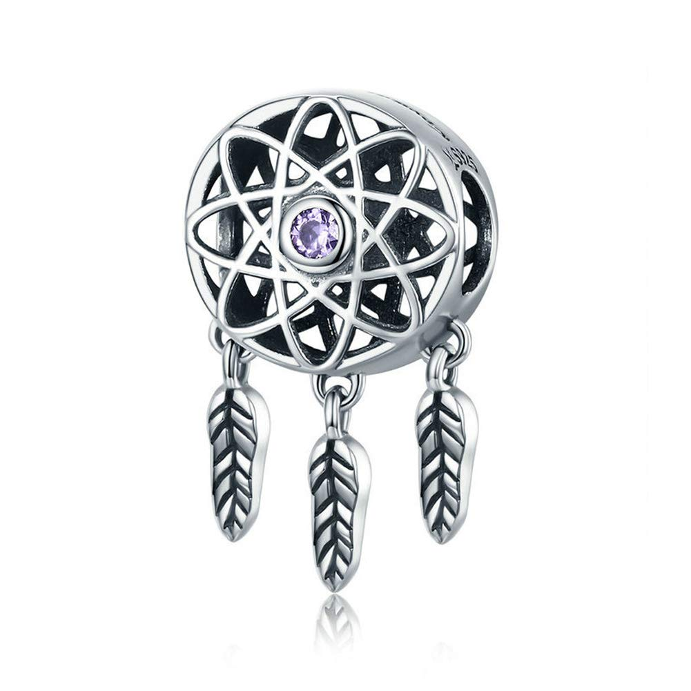 YANGTE 925 Sterling Silver Charms Beautiful Dream Catcher Holder Beads fit European Charm Bracelet Necklace Gift for…
