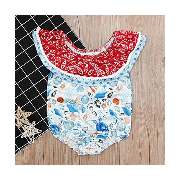 Heetey Traje de natación para niña, para niños pequeños, para bebé, niña, sin Mangas, con Estampado de Hombros, con… 5