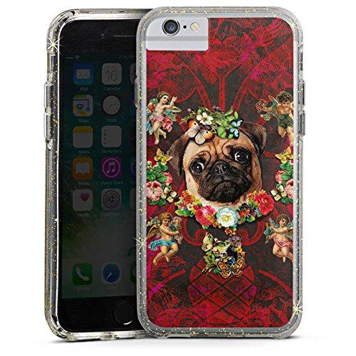 Apple iPhone 6s Plus Bumper Hülle Bumper Case Glitzer Hülle Mopsi Engel Blumen Mops Hund Bumper Case Glitzer gold