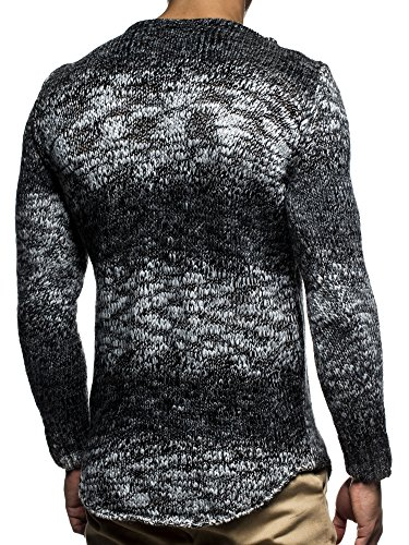 LEIF NELSON Herren Pullover Strickpullover Sweatshirt Hoodie Longsleeve Basic Rundhals Crew Neck langarm Sweater Strick LN20717 Schwarz