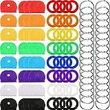 Kit de 64 Piezas de Tapa de Llave, Anillas Tapa de Identificación de Llave de Plástico en 8 Colores Diferentes con 32 Piezas de Anillas de Llave de Acero para Organización de Llaves