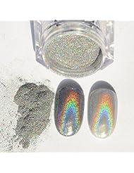 Sindy 1g/Boîte Poudres Holographiques Laser Effet Arc en Ciel Nail Art Pigment Chrome