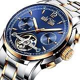 Men Watch Montre Homme Montres Mécaniques Automatiques Homme Montre-Bracelet Imperméable de Luxe avec Bracelet en Acier Inoxydable, Affichage de la Date et du Calendrier, Cadeau Parfait