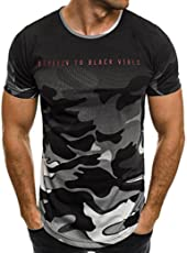Mose Men's Camo Letter Sports T-Shirt Personality Camouflage Casual Slim Short-Sleeved Shirt Top Blouse