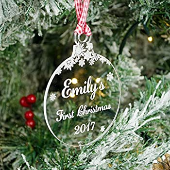 Babys First Christmas Personalised Xmas Tree Decoration Clear Acrylic Bauble 1st Gift