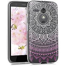 kwmobile Funda para Moto G (2013) Motorola - Case de cristal para móvil en TPU silicona - Cover trasero de cristal Diseño sol indio rosa claro blanco transparente