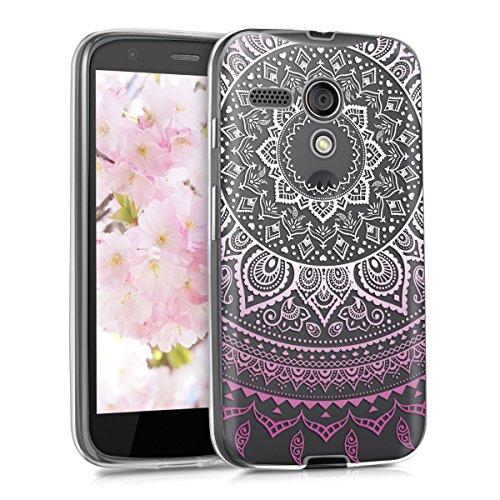 kwmobile Motorola Moto G (1. Gen) Hülle - Handyhülle für Motorola Moto G (1. Gen) - Handy Case in Rosa Weiß Transparent