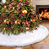 Flyinghedwig Finta Pelliccia Albero di Natale Gonna 120 cm soffice Neve Bianco Natale Decorazioni Albero di Natale Vacanze gonne