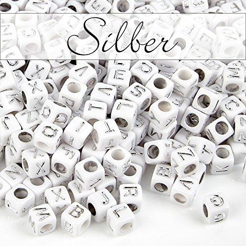 Personalisierte Familie Schmuck (MichaLeo Buchstabenperlen zum auffädeln und Schmuckherstellung - 500 Premium Acryl 6 mm große Würfel Perlen mit Buchstaben in Silber und 3,5mm Lochung geeignet auch für Paracord Schnur)