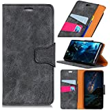 LG Q7 - Comfortable Leather Cover Wallet Style Flip Cover Case for LG Q7 ONLY (LG Q7 Cover Grey)