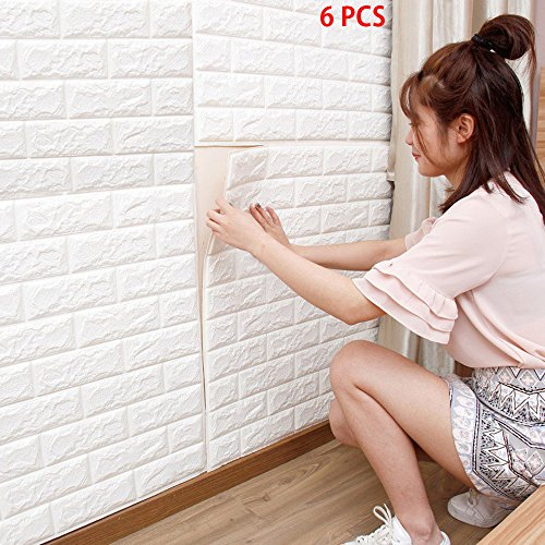 6 piezas 77*70cm 3D papel pintado blanco del ladrillo, paneles 3D de la pared,Papel Pintado, Ladrillo Pegatina Pared Autoadhesivo Panel Pared Impermeable