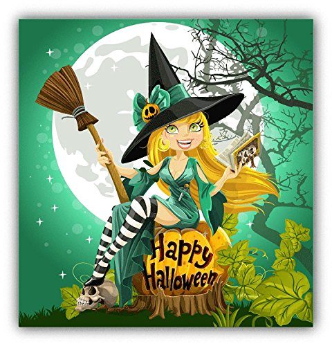 Witch Beautiful Young Happy Halloween Card Hochwertigen Auto-Autoaufkleber 12 x 12 ()