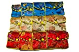 AKORD Womens 12 X Jewellery Silk Purse Pouch Gift Bags Purse Multicolour (Multicolour)