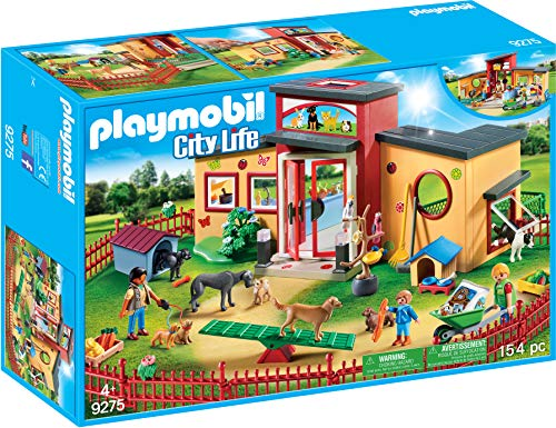 Playmobil 9275 City Life Tiny Paws Pet Hotel with Flexible Outdoor Fence Toy, Multicolour