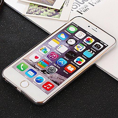 Für Apple IPhone 6 u. 6s Abdeckungs-Fall ultra dünne transparente galvanisierende TPU Gel-rückseitige Abdeckung weiche schützende Stoßabdeckung ( Color : Rose ) Silver