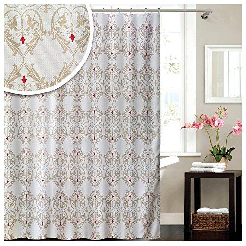 """Lashuma Textil Duschvorhang weiß - Beige """"Damask"""", Badevorhang mit Barock Muster, Wannenvorhang..."""