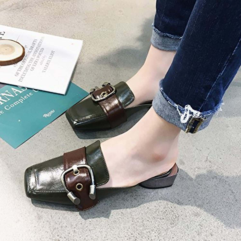 Qingchunhuangtang@ Couleur carré épais avec des sandales et chaussures sandales B07BZLLLN9 pantoufles mot faible - B07BZLLLN9 sandales - 587719