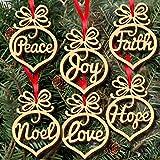 ODJOY-FAN 6Pcs Weihnachten Dekorationen Hölzern Ornament Weihnachten Hohl Aus Anhänger Hängende Verzierung Baum Hängend Stichworte Anhänger Dekoartikel (9.7x7.2x0.3cm) (Multicolour,1 Set)