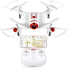 Toyshine Syma X20W WiFi FPV Drone with Camera Real Time Video 2.4GHz 4CH 6-Axis Gyro RC Quadcopter with Altitude Hold, 3D Flips, Headless Mode, White