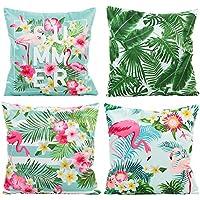 JOTOM Modern Fashion Square funda de almohada sofá funda de cojín del coche Home Decor 45 x 45 cm, Set de 4 (Flamencos y hoja verde)