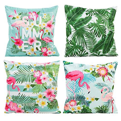 (JOTOM Kissenbezug Silk Simulation Dekokissen Fall Sofa Auto Kissenbezug Home Bed Decor 45 x 45 cm, 4er Set (Flamingos und grünes Blatt))
