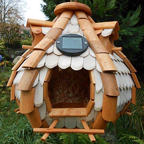 Großes Luxus Solar Licht Vogelhaus Holz Bunt Vogelfutterhaus Vogelhäuschen K32S LED (Braun / Weiß)