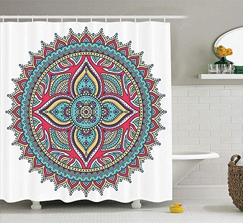 AdaCrazy Ethnische indische Mandala Muster Boho Home Decor Floral Natur Thema Henna Stil Kunst Bild Mandala Decor Collection Polyester Stoffbad Duschvorhang Set mit (Indische Ring Nickel)