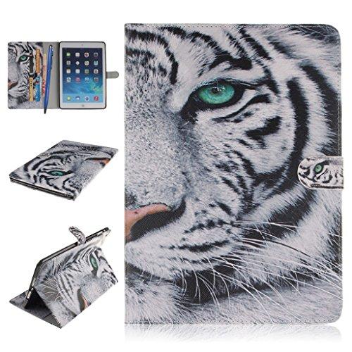 iPad Air Funda,Careynoce Atrapasueños León Tigre Pattern Flip PU Cuero Carcasas Funda Case Cover para Apple iPad Air iPad 5 (9.7 pulgada) - Blanco Tigre