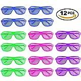 12er Set Partybrille, Scherz-Brille & Atzenbrille in 4 Farben – leuchtbrille, karnevalbrille - ideale Shutter Shades Sonnenbrille & Retro-Brille als Partyartikel, Scherzartikel, für Junggesellenabschied & Mottoparty