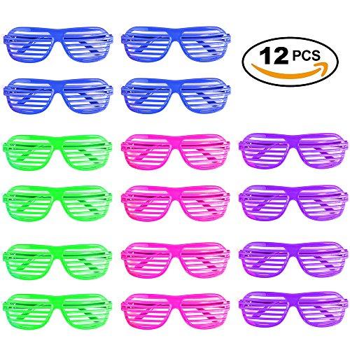 12er Set Partybrille, Scherz-Brille & Atzenbrille in 4 Farben – leuchtbrille, karnevalbrille -...