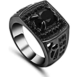 خاتم نسائي مطلي بالذهب الأسود مرصع بحجركريم أونيكس (الجزع) الأسود مقاسUS 6
