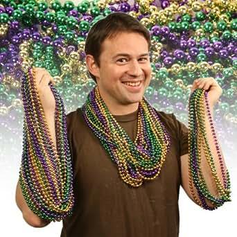 "Forum Novelties Inc. Mardi Gras Metallic Round Bucket ""O"" Beads Assortment Pkg/72"