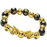 Feng Shui 12mm Black Obsidian/Mantra Bead Bracelet with Double Golden Pi Xiu/Pi Yao and Copper Coins Bead Lucky Wealthy Amule