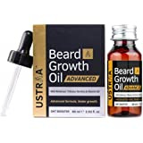 USTRAA Beard Growth Oil Advanced - 60ml - Beard Growth Oil for Patchy Beard, With Redensyl and DHT Booster, Nourishment…