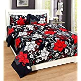 Superme Home Collective Glace Cotton Red Flower 3D Design Double Bedsheet With 2 Pillow Cover