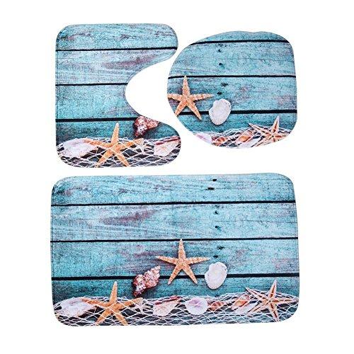 Ueb 3pcs/set tappetino da bagno antiscivolo assorbente stampato in flanella tappetino per copertura coperchio wc tappeto da bagno arredo bagno (rete da pesca e stelle marine)
