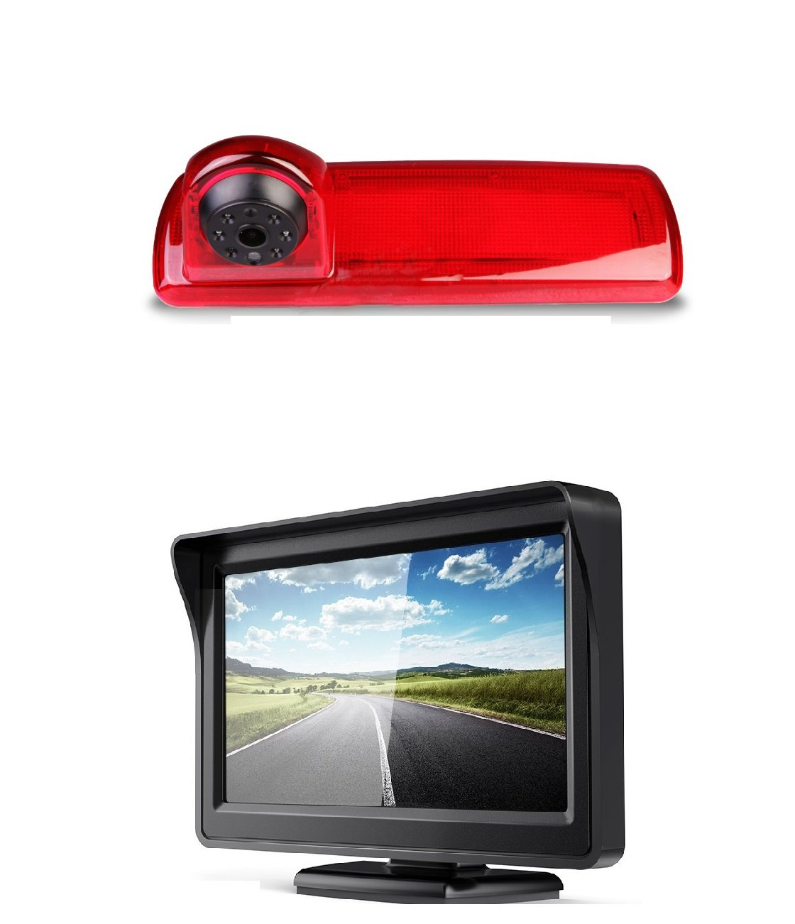 Auto-Dritte-Dach-Top-Mount-Bremsleuchte-Kamera-Bremslicht-Rckfahrkamera-Monitor-Set-fr-Opel-Vivaro-B-Renault-Trafic-X82-NV300-ab-2014-43-Zoll-DVD-Monitor-TFT-Bildschirm-LKW-KFZ-LCD-Display