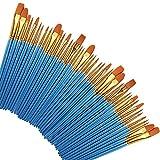 Contever 50 Set di pennelli nylon spazzole per olio acrilico pittura ad acquerello artista kit per Principianti, Bambini, Artisti e Amanti della Pittura, Blu