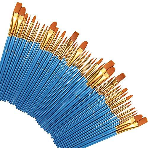 Samtlan 50 Stück Pinselset Künstler Malen Pinsel Set Premium Nylon Pinsel für Aquarell Acryl Ölgemälde Professional Painting Kits