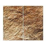 BANJADO Herdabdeckplatte aus Glas | Herdabdeckung zweiteilig je 30x52cm | Spritzschutz für Ceranfeld oder Induktionsherd | Schneidebrett perfekt für die Küche mit Motiv Steinstruktur