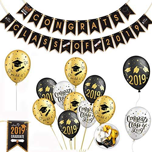 REYOK Herzlichen Glückwunsch abschluss deko Congrats Class of 2019 Banner mit Luftballons Graduation Cap Dekorationen für Graduierung Abschlussfeier Party Dekorationen (Halloween-events In La 2019)