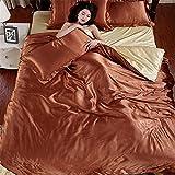 Glanz Satin Bettbezug Bettwäsche Set mit 4-teilig Doppel Farben in verschiedene Größe (200x230CM, Brown with Khaki)