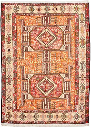 Nain Trading Kelim Soumak Seide 147x104 Orientteppich Teppich Beige/Rosa Handgeknüpft Indien -