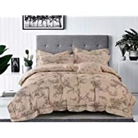Gifty Set of Cotton Double Luxurious Comforter and Queen Size Bedsheets with 2 Frill Pillow Covers (King Size , Brown)