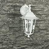 Rustikale Wandleuchte in weiß-graumatt inkl. 1x 12W E27 LED 230V Wandlampe aus Aluminium für Garten/Terrasse Garten Weg Terrasse Lampen Leuchte außen Beleuchtung
